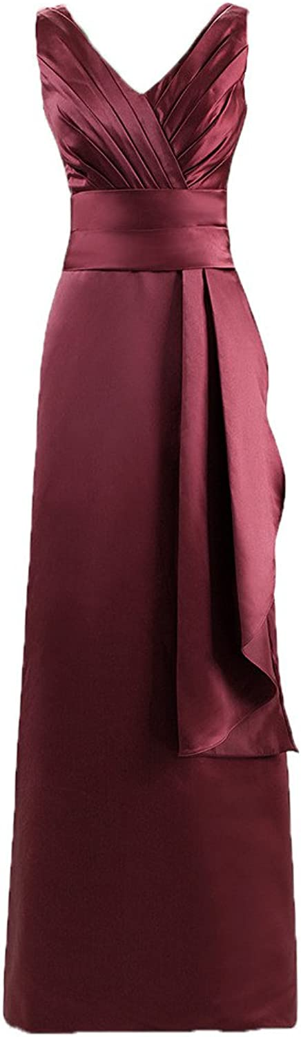 Blevla Double V Neck Straps Long Bridesmaid Dress Satin Prom Evening Gown