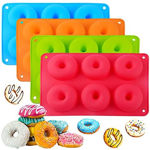 Moldes de Silicona para Donuts, 4pcs BKJJ Silicone Donut Moldes, con 6 Cavidad para Pasteles, Galletas, Rosquillas, Muffins Lavavajillas, Horno, Microondas, Refrigerador (Azul/Rojo/Naranja/Verde)