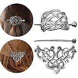 Lurrose pince à cheveux celtique en alliage triangle clip pince à glissière de cheveux épingle à cheveux noeud noeud celtique avec bâton pour les femmes 2pcs