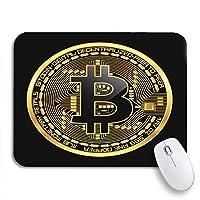 ROSECNY 可愛いマウスパッド 暗号通貨ゴールデンコイン黒欠けビットコインシンボル滑り止めゴムバッキングノートブックマウスマット用マウスパッド