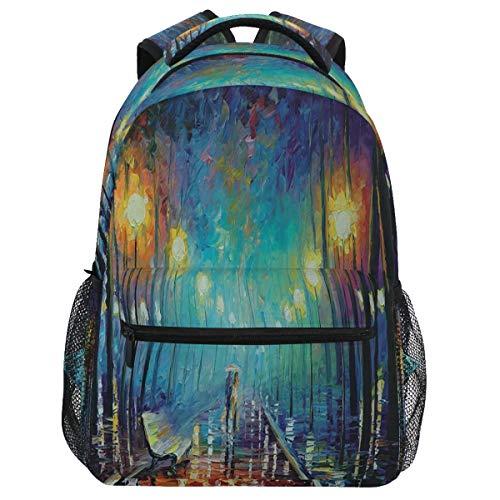 Oarencol Mochila romántica con lluvia nocturna para caminar por la noche, obras de arte de pintura, mochila de viaje, senderismo, camping, escuela, bolsa de ordenador portátil