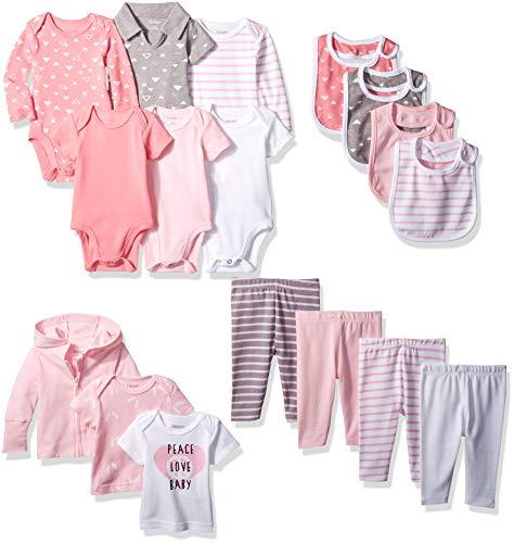 Hanes Ultimate Baby Flexy-17 Piece Warm Weather Essentials Set, Pink, 6-12 Months