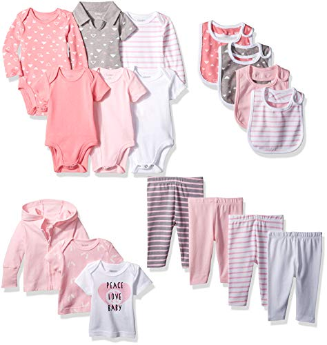 Hanes Ultimate Baby Flexy-17 Piece Warm Weather Essentials Set, Pink