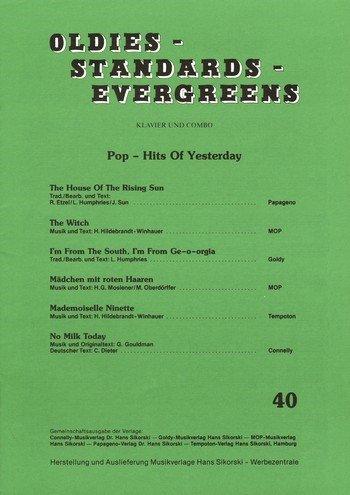 : Oldies - Standards - Evergreens, Heft 40: Pop - Hits Of Yesterday Für Klavier
