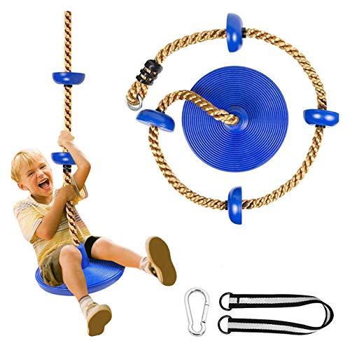 KAFITE Niños escalando Cuerda y Cuerda Columpio Swing Redondo para niños Asiento sillón Fuerte Disco Columpio trepador Cuerda para niños al Aire Libre Patio Trasero Patio de recreo (Color : Blue)