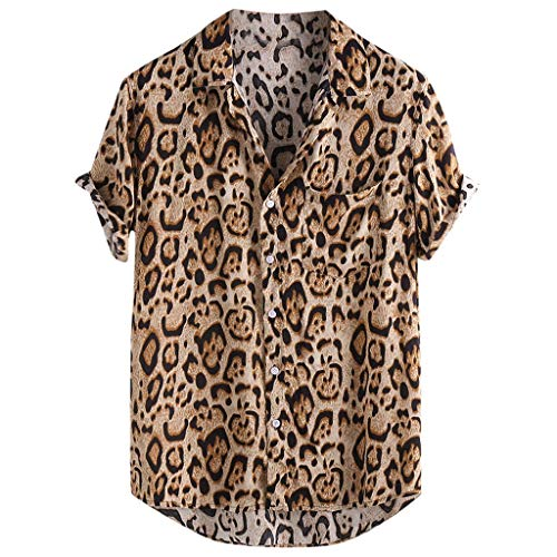 Linen Shirts for Men,2019 New Casual Short Sleeve Button Down Leopard Print Loose Tee Tops with Pocket (L, Brwon)