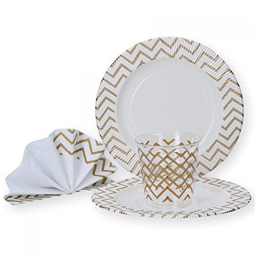 MamboCat, set di piatti usa e getta per party, per 16persone, composto da piatti di cartone, tovaglioli e bicchieri per occasioni di festa, servizio da tavola Goldenes Zick-zack-muster