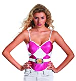 Disguise Sabans Mighty Morphin Power Rangers Pink Ranger Womens Adult Bustier Costume, Pink/White, Small/4-6