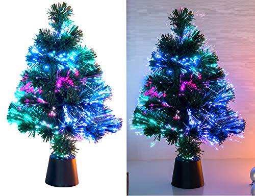 Lunartec Glasfaser Weihnachtsbaum: Deko-Tannenbaum, dreifarbige LED-Beleuchtung, Batteriebetrieb, 45 cm (Glasfaser Baum)