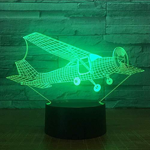 3D Illusie lampModellering van taxiën Vliegtuig met vaste vleugelsLicht NachtBeste Geschenken voor Kinderen Familie Vrienden Verjaardagen en Valentijnsdag7 Kleuren USB Nachtlampje (Afstandsbediening)