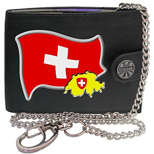 Switzerland Flag Schweiz Flagge Karte Wappen Bild auf Herren Kette Geldbörse Portemonnaie KLASSEK Marken Echtes Leder RFID Schutz mit Münzfach Zubehör Geschenk mit Metall Box