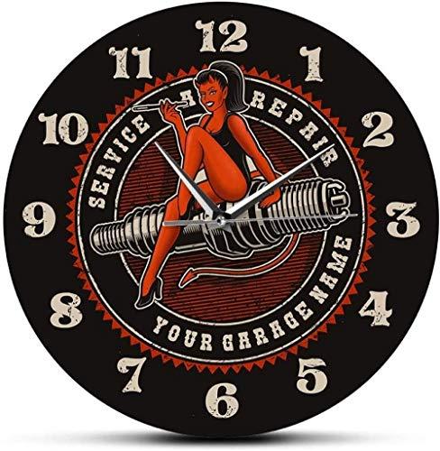 Reloj De Pared Devil Girl On Spark Plug Engine Servicio De Reparación De Automóviles Y Motocicletas Reloj De Pared De Garaje Personalizado Hombre Cueva Reloj Mecánico Personalizado 30X30Cm