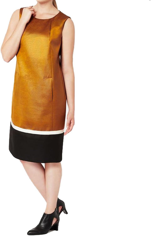 Marina Rinaldi Women's Decano Textured Sleeveless Dress Brown Black