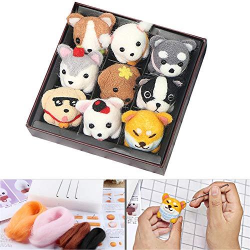 Ouken 1Pack DIY Nadel Filzwolle Roving Kit Bunte Wolle zum Filzen Spinnen Kunsthandwerk Set mit Werkzeug Entzückende Geburtstags-Geschenk für Erwachsene und Kinder (Netter Hund)
