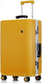"20""24"" 26""28"" Trolley Aluminum Frame Case High Durable Traveling Bag TSA Custom Aluminum Handrail Spinnable 4-Wheel (Color : Yellow, Size : 28inch)"