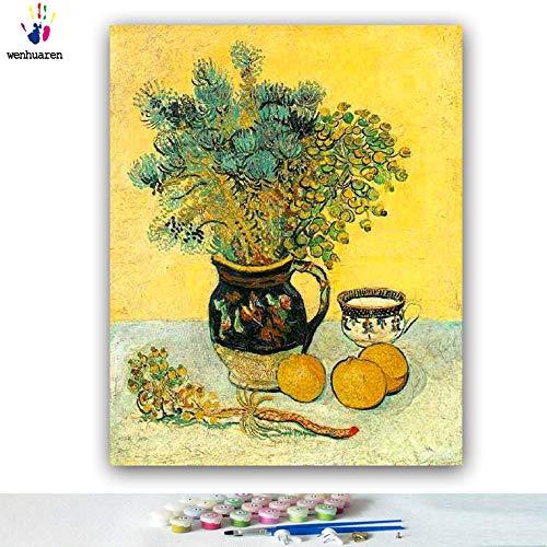 Malen nach Zahlen Kits 40,6 x 50,8 cm Leinwand-Ölgemälde für Kinder, Studenten, Erwachsene, Anfänger mit Pinsel und Acryl-Pigment – Majolika-Krug mit Wildblumen, Vincent Willem Van Gogh, ohne Rahmen)