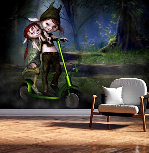 Vlies Tapete Poster Fototapete Fantasy kleine Trolle Pärchen Nacht Farbe color, Größe 120 x 90 cm selbstklebend