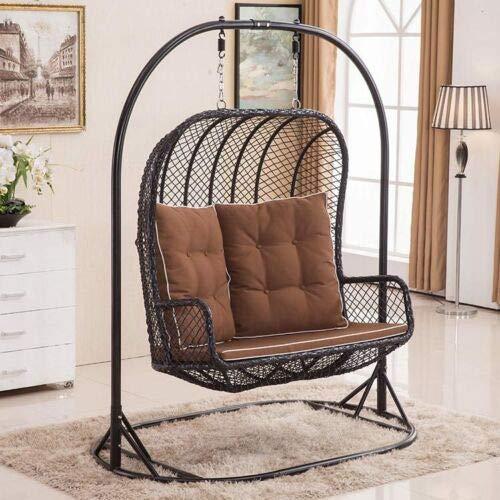 LARGE Double Egg Chair Bench Swing Wicker Rattan Hanging Garden Patio Indoor/Outdoor Includes Cushions - 2020 Design
