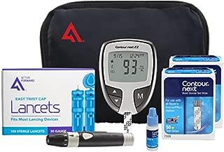 Contour NEXT EZ Diabetes Testing Kit   Contour NEXT EZ Blood Glucose Meter, 100 Contour NEXT Blood Glucose Test Strips, 100 Lancets, Lancing Device, Control Solution, Log Book, User Manuals and Pouch