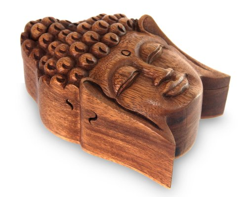 OMA Wood Carved Lucky Buddha Puzzle Box Jewelry Trinket Box with Secret Compartment Buddha Statue Federal (TM) Brand