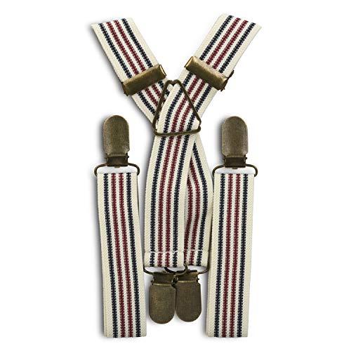 Suspensórios elásticos para noivos, padrinhos, roupas para portadores de anéis com clipes de latão (tamanho adulto e infantil) – da London Jae Apparel, White, Navy, & Wine Stripes, Adult