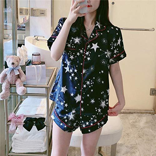 NKSS Pajamas Set Summer Women Print Nightwear Short Sleeve Shorts Party Sleepwear Homewear-8478_S