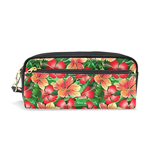 COOSUN Tropical Orange et Rouge Hibiscus Fleurs Portable PU école Housse Crayon Pen Sacs Stationary Housse Grande capacité Sac de Maquillage cosmétiques Grand Multicolore