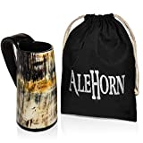 AleHorn Original Handcrafted Authentic Viking Drinking Horn Tankard for Beer Mead Ale - Genuine Medieval Inspired Stein Mug Food Safe Vessel with Handle (Large, Premium Base)