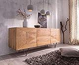DELIFE Kommode Wyatt Akazie Natur 175 cm mit 3 Türen Edelstahl Designer Sideboard