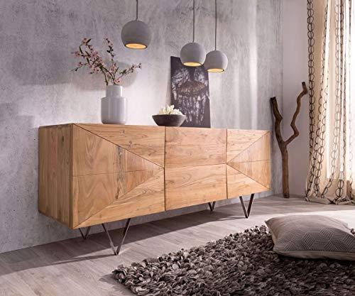 Preisvergleich Produktbild DELIFE Kommode Wyatt Akazie Natur 175 cm mit 3 Türen Edelstahl Designer Sideboard