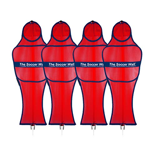 Soccer Innovations The Soccer Wall Adult Portable Training Defender with Carry Bag, Red, Set of 4