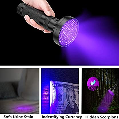 Coquimbo UV Torch 100 LED, Black Light UV Flashlight Ultraviolet Torch Pet Urine Stain Detector, Super Bright Blacklight Detector for Pet Stains, Bed Bug, Carpet, Floor (6 x AA Batteries Included) 2
