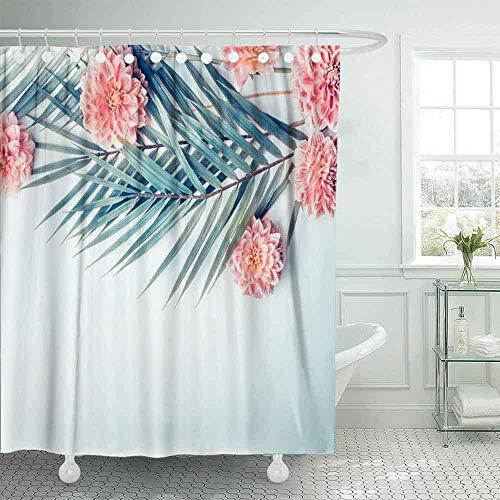 OPDJFH Cortina de ducha de granja, diseño creativo de hojas de palmera tropicales, flores rosas pastel y azul turquesa claro, cortina de ducha de escritorio, cortina de ducha de 167 x 182 cm
