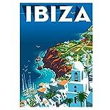 Cartel de viaje Retro Vintage de la isla de Ibiza, decoración de pared, pintura de habitación, arte de pared, pintura en lienzo, decoración, regalo, 50x75cm sin marco