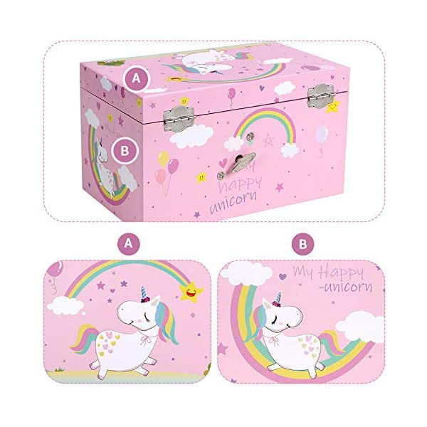 """SONGMICS Unicorn Ballerina Jewelry, Music Box with Pullout Drawer, Ring Slots and Divided Compartments, 7.5""""L x 4.3""""W x… 10"""