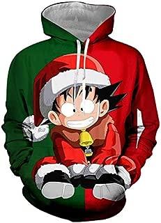 Christmas Sweatshirts Fashion Men Winter Regular Printed Dragon Ball Z Goku 3D Hoodies Sweatshirt with Long Drawstring