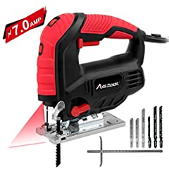 【Powerful & Adjustment Speed】 With powerful 7.0 Amp motor, this jigsaw can generate power up to 3,000 strokes per minute for higher cutting performance. Six-speed control dial allows to adjust the speed according to different cutting tasks and materi...