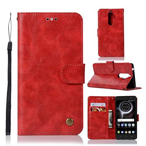 Phone Case For Lenovo K8 Note Retro Copper Button Crazy Horse Horizontal Flip PU Leather Case with Holder & Card Slots & Wallet & Lanyard (Wine Red) (Color : Red)