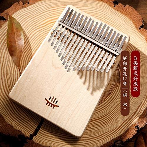 Kalimba, Daumenklavier 17 Keys Kalimba Voll feste Daumenklavier aus Holz Bodenloch mbira Palisander Musik Finger Instrument for Anfänger (Color : Maple)