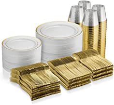 600 Piece Gold Dinnerware Set - 100 Gold Rim 10 inch Plastic Plates 100 Gold Rim 7 Inch Plates -300 Gold Plastic Silverware - 100 Gold Plastic Cups - 100 Guest Disposable Gold Dinnerware Set