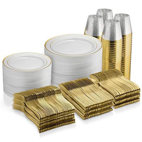 600 Piece Gold Dinnerware Set - 100 Gold Rim 10 inch Plastic Plates 100 Gold Rim 7 Inch Plates -300 Gold Plastic Silverware - 100 Gold Plastic Cups - 100 Guest Disposable Gold Dinnerware Set