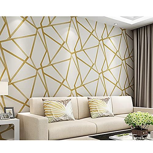HFSKJ Papel Tapiz geométrico 3D para decoración del hogar, diseño Moderno a Rayas, triángulos, para Dormitorio y Sala de Estar