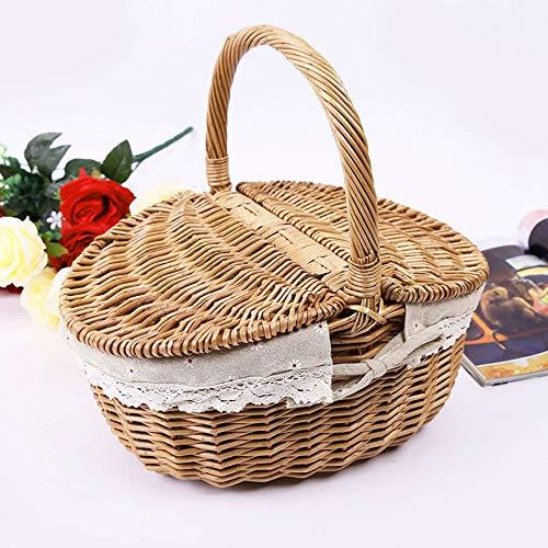 Cesta de picnic de mimbre de mimbre cesta de picnic como bolsa de compras con tapa y mango y forro blanco para acampar al aire libre, picnic y comida picnic cesta mochila