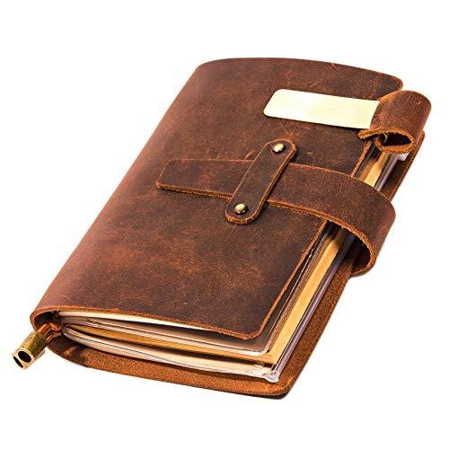 Leather Writing Journal Notebook For Men & Women - Leather Notepad, Pocket Notebook - Sketchbook for traveling with Pen Holder, Card Holder, Handmade Refillable Travel Diary Journal