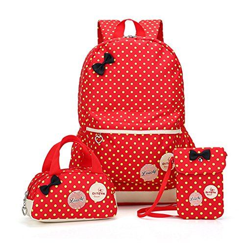 Bcony 3pcs carina punto scuola zaini bambina + ragazza borsetta + mini crossbody Borse,Rosso