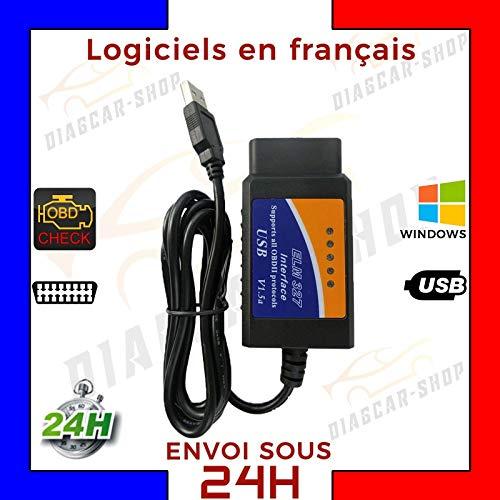 MISTER DIAGNOSTIC Elm 327 OBD 2 mit USB-Kabel Diagnose OBD II für PC + Software – ELM327 – Diagnose Auto Multi Marke