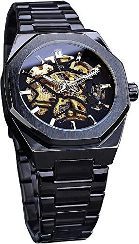 QHG Relojes para Hombre, Acero Inoxidable Impermeable automático Auto bobinado Negro Dorado Skeleton Deporte Reloj de Pulsera mecánico