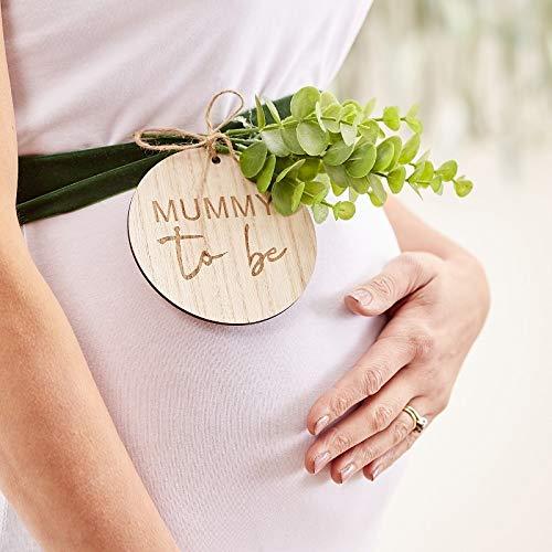 Miss Lovely Bauchband aus Samt & Holz Mummy to BE Botanical Eukalyptus Blätter Deko Baby-Party Dekoration Accessoire Zubehör Geburt Taufe Baby-Shower Junge & Mädchen