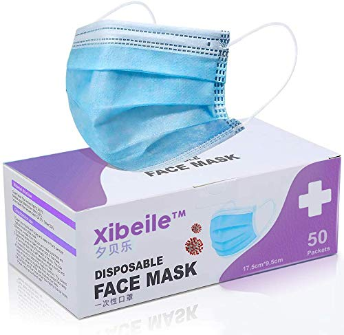 3 Ply Non Woven Disposable Comfortable Face Mask Pack of 50, Blue, Ships from USA