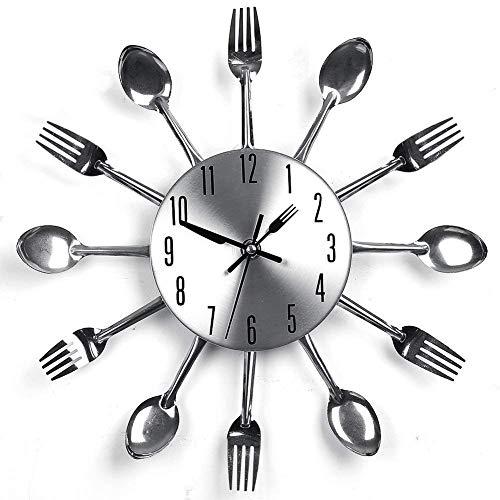 Fiona - Orologio da parete con coltello e forchetta, 3D rimovibile, moderno, creativo, posate da cucina, cucchiaio forchetta da parete